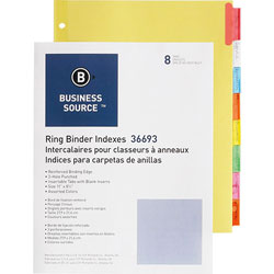Business Source Ring Binder Indexes, 1-1/2 in Tabs, 11'' x 8-1/2 in, 8-Tabs, 50ST/BX