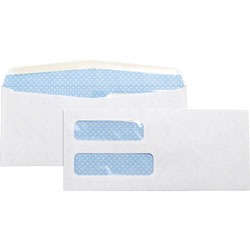 Business Source Double Window Envelope, No. 10, 4-1/8 inx9-1/2 in, 500/BX, White
