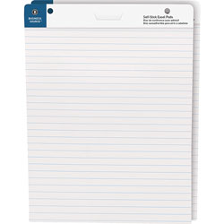 Business Source Self-Stick Easel Pads, Ruled, 30 Shts, 25 inx30 in, 2/PK, WE