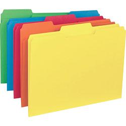Business Source Interior File Folder, 1/3 Cut Assorted, Letter