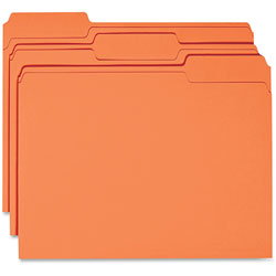 Business Source Color File Folder, 1/3 Cut, 100/BX, Orange