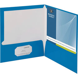 Business Source Report Covers With Business Card Holder, Blue