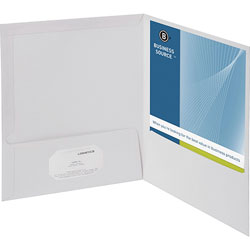 Business Source Report Covers With Business Card Holder, White