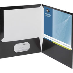 Business Source Report Covers With Business Card Holder, Black