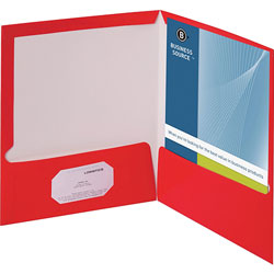 Business Source Report Covers With Business Card Holder, Red