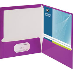 Business Source Report Covers With Business Card Holder, Purple