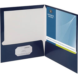 Business Source Report Covers With Business Card Holder, Navy