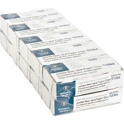 Business Source Paper Clips, Jumbo, Nonskid, 1000/PK, Silver