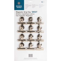 Business Source Magnetic Clips,Display Pack,Sz 2,2-1/4 inW,1/2 inCap,12/BX