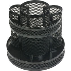 Business Source Rotary Organizer, Mesh, 6-5/8 inx6-5/8 inx6-5/8 in, Black