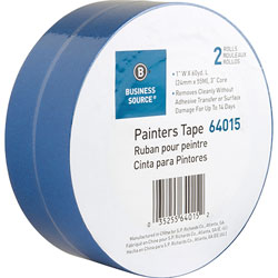 Business Source Painters Tape, Multisurface, 1 inx60 Yards, 2 Roll/PK, Blue