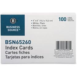 """Business Source Index Cards, Plain, 90lb., 4"""" x 6"""", White"""