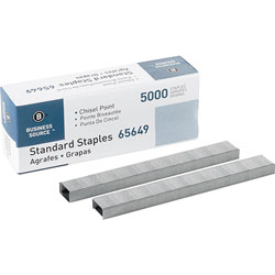 "Business Source Standard Staples, Chisel Point, 1/2"" W, 1/4"" L, 210 Strip"