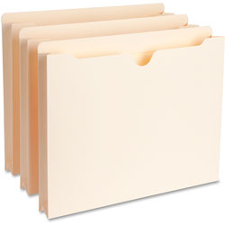 """Business Source File Pocket, Straight Cut Tab, 1-1/2"""" Expanding, Letter, Manila"""