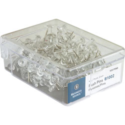 Business Source Pushpins, 3/8 in Point, 1/2 in Heads, 100/BX, Clear