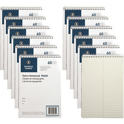 Business Source Steno Notebooks, Gregg Ruled, 60 Sheets, 6 in x 9 in, 12/PK, Green
