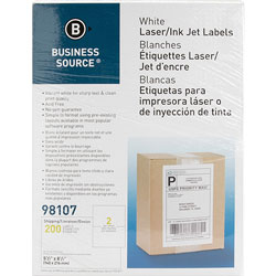 Business Source Premium Mailing Labels, 5-1/2 in x 8-1/2 in, 500/BX, White