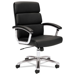 Basyx by Hon Traction High-Back Executive Chair, Supports up to 250 lbs., Black Seat/Black Back, Polished Aluminum Base