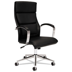 Basyx by Hon HVL105 Executive High-Back Leather Chair, Supports up to 250 lbs., Black Seat/Black Back, Polished Aluminum Base