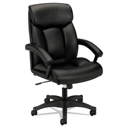 Basyx by Hon HVL151 Executive High-Back Leather Chair, Supports up to 250 lbs., Black Seat/Black Back, Black Base