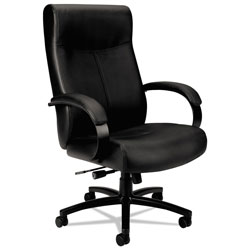 Basyx by Hon Validate Big and Tall Leather Chair, Supports up to 450 lbs., Black Seat/Black Back, Black Base