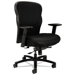 Basyx by Hon Wave Mesh Big and Tall Chair, Supports up to 450 lbs., Black Seat/Black Back, Black Base