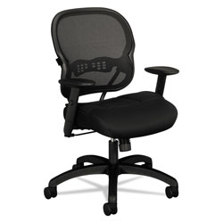 Basyx by Hon Wave Mesh Mid-Back Task Chair, Supports up to 250 lbs., Black Seat/Black Back, Black Base