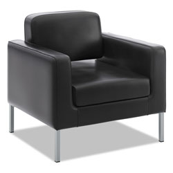 Basyx by Hon Corral Club Chair, 31.5 in x 28 in x 30.5 in, Black Seat/Black Back, Platinum Base
