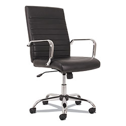 Sadie™ 5-Eleven Mid-Back Executive Chair, Supports up to 250 lbs., Black Seat/Black Back, Aluminum Base