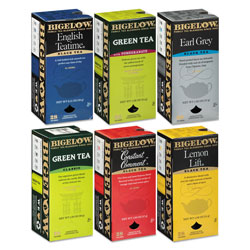 Bigelow Tea Company Assorted Tea Packs, Six Flavors, 28/Box, 168/Carton