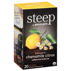 Bigelow Tea Company steep Tea, Chamomile Citrus Herbal, 1 oz Tea Bag, 20/Box
