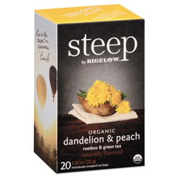 Bigelow Tea Company steep Tea, Dandelion & Peach, 1.18 oz Tea Bag, 20/Box