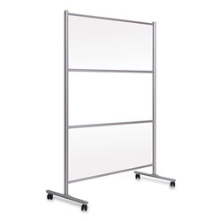Bi-silque Visual Communication Product Inc Protector Series Mobile Glass Panel Divider, 68.5 x 22 x 50, Clear/Aluminum