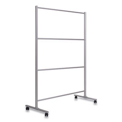 Bi-silque Visual Communication Product Inc Protector Series Mobile Glass Panel Divider, 80.3 x 22 x 50, Clear/Aluminum