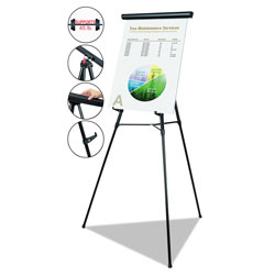 MasterVision™ Telescoping Tripod Display Easel, Adjusts 38 in to 69 in High, Metal, Black