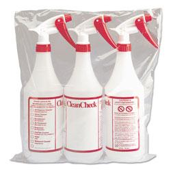 Boardwalk Trigger Spray Bottle, 32 oz, Clear/Red, HDPE, 3/Pack