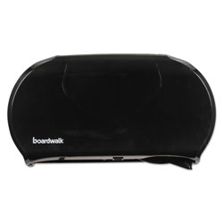 Boardwalk Jumbo Twin Toilet Tissue Dispenser, 20 1/4 x 12 1/4, Black
