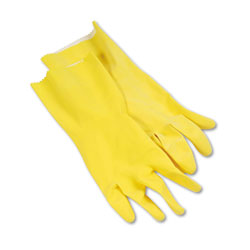 Boardwalk Flock-Lined Latex Cleaning Gloves, Large, Yellow, 12 Pairs