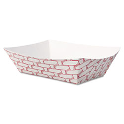 Boardwalk Paper Food Baskets, 1/2 lb Capacity, Red/White, 1000/Carton