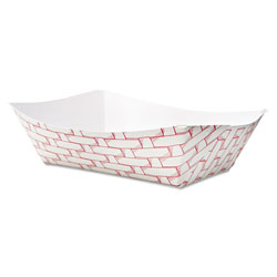 Boardwalk Paper Food Baskets, 3lb Capacity, Red/White, 500/Carton