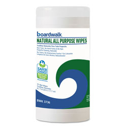 Boardwalk Natural All Purpose Wipes, 7 x 8, Unscented, 75 Wipes/Canister, 6/Carton