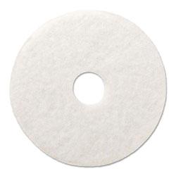 Boardwalk Polishing Floor Pads, 17 in Diameter, White, 5/Carton