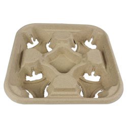 Boardwalk Molded Fiber Cup Tray, 8-32 oz, Four Cups, 300/Carton