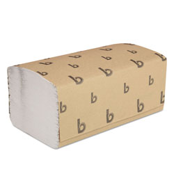 Boardwalk Singlefold Paper Towels, White, 9 x 9 9/20, 250/Pack, 16 Packs/Carton