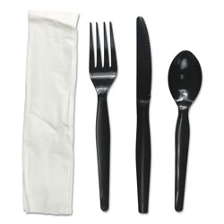 Boardwalk Four-Piece Cutlery Kit, Fork/Knife/Napkin/Teaspoon, Heavyweight, Black, 250/Carton