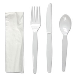 Boardwalk Four-Piece Cutlery Kit, Fork/Knife/Napkin/Teaspoon, Heavyweight, White, 250/Carton