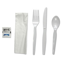 Boardwalk Six-Piece Cutlery Kit, Condiment/Fork/Knife/Napkin/Spoon, Heavyweight, White, 250/Carton