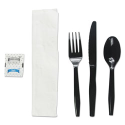 Boardwalk Six-Piece Cutlery Kit, Condiment/Fork/Knife/Napkin/Teaspoon, Black, 250/Carton
