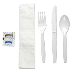 Boardwalk Six-Piece Cutlery Kit, Condiment/Fork/Knife/Napkin/Teaspoon, White, 250/Carton