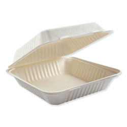 Boardwalk Bagasse Molded Fiber Food Containers, Hinged-Lid, 1-Compartment 9 x 9, White, 100/Sleeve, 2 Sleeves/Carton